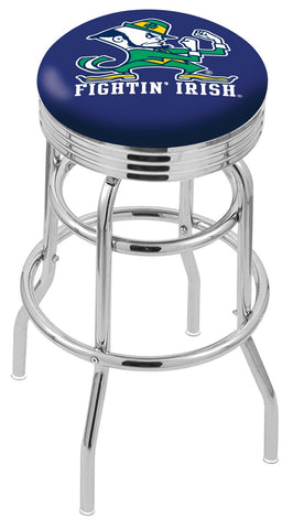 "ND Fighting Irish 30"" L7C3C - Chrome Double Ring Notre Dame (Leprechaun) Swivel Bar Stool with 2.5"" Ribbed Accent Ring by Holland Bar Stool Company"