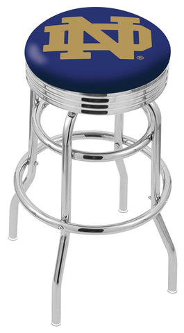 "ND Fighting Irish 30"" L7C3C - Chrome Double Ring Notre Dame (ND) Swivel Bar Stool with 2.5"" Ribbed Accent Ring by Holland Bar Stool Company"