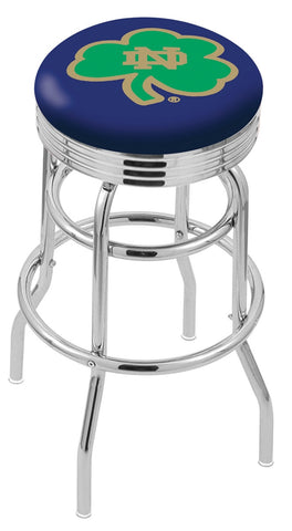 "ND Fighting Irish 30"" L7C3C - Chrome Double Ring Notre Dame (Shamrock) Swivel Bar Stool with 2.5"" Ribbed Accent Ring by Holland Bar Stool Company"