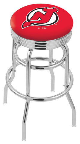 "30"" L7C3C - Chrome Double Ring New Jersey Devils Swivel Bar Stool with 2.5"" Ribbed Accent Ring by Holland Bar Stool Company"