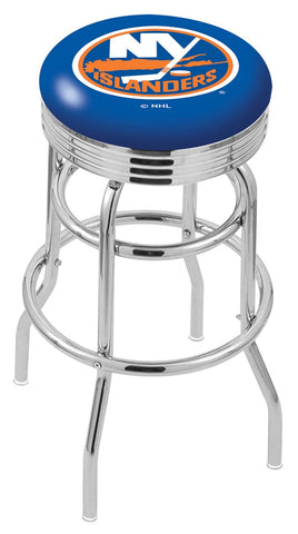 "30"" L7C3C - Chrome Double Ring New York Islanders Swivel Bar Stool with 2.5"" Ribbed Accent Ring by Holland Bar Stool Company"