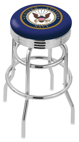 "30"" L7C3C - Chrome Double Ring U.S. Navy Swivel Bar Stool with 2.5"" Ribbed Accent Ring by Holland Bar Stool Company"