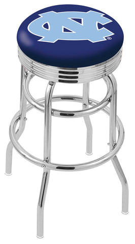 "UNC Tar Heels 30"" L7C3C - Chrome Double Ring North Carolina Swivel Bar Stool with 2.5"" Ribbed Accent Ring by Holland Bar Stool Company"