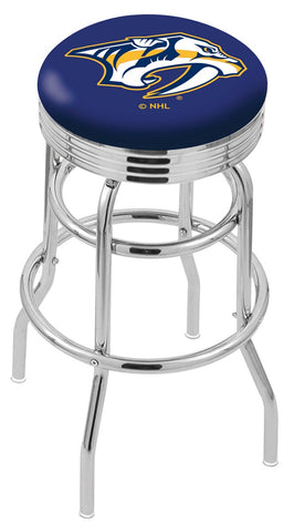 "30"" L7C3C - Chrome Double Ring Nashville Predators Swivel Bar Stool with 2.5"" Ribbed Accent Ring by Holland Bar Stool Company"