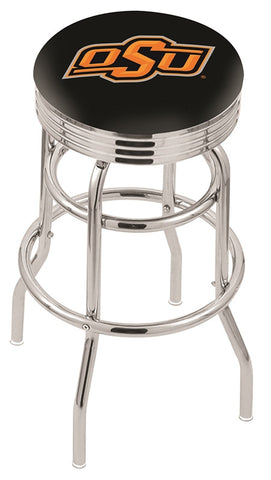 "OSU Cowboys 30"" L7C3C - Chrome Double Ring Oklahoma State Swivel Bar Stool with 2.5"" Ribbed Accent Ring by Holland Bar Stool Company"