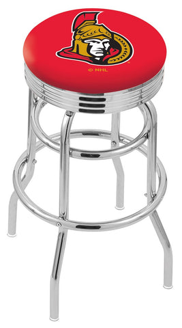 "30"" L7C3C - Chrome Double Ring Ottawa Senators Swivel Bar Stool with 2.5"" Ribbed Accent Ring by Holland Bar Stool Company"