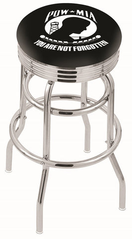 "30"" L7C3C - Chrome Double Ring POW/MIA Swivel Bar Stool with 2.5"" Ribbed Accent Ring by Holland Bar Stool Company"
