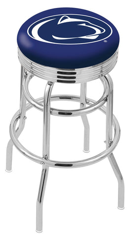 "PSU Nittany Lions 30"" L7C3C - Chrome Double Ring Penn State Swivel Bar Stool with 2.5"" Ribbed Accent Ring by Holland Bar Stool Company"
