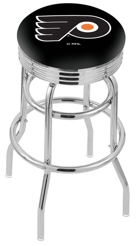 "30"" L7C3C - Chrome Double Ring Philadelphia Flyers Swivel Bar Stool with 2.5"" Ribbed Accent Ring by Holland Bar Stool Company"
