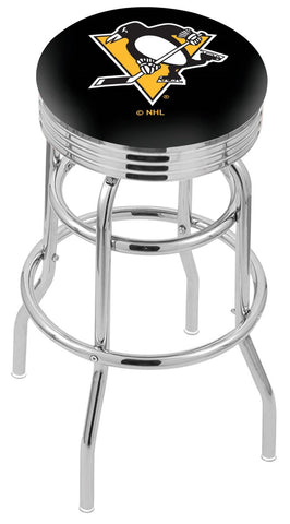 "30"" L7C3C - Chrome Double Ring Pittsburgh Penguins Swivel Bar Stool with 2.5"" Ribbed Accent Ring by Holland Bar Stool Company"