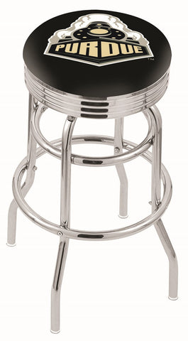 "Purdue  Boilermakers 30"" L7C3C - Chrome Double Ring Purdue Swivel Bar Stool with 2.5"" Ribbed Accent Ring by Holland Bar Stool Company"