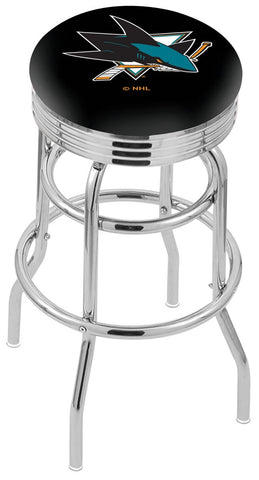 "30"" L7C3C - Chrome Double Ring San Jose Sharks Swivel Bar Stool with 2.5"" Ribbed Accent Ring by Holland Bar Stool Company"
