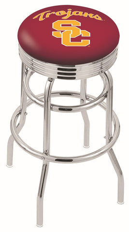 "USC Trojans 30"" L7C3C - Chrome Double Ring USC Trojans Swivel Bar Stool with 2.5"" Ribbed Accent Ring by Holland Bar Stool Company"