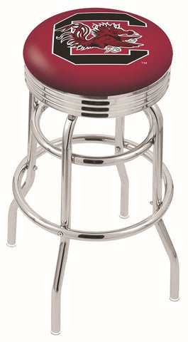 "South Carolina Gamecocks 30"" L7C3C - Chrome Double Ring South Carolina Swivel Bar Stool with 2.5"" Ribbed Accent Ring by Holland Bar Stool Company"