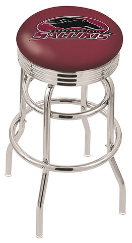 "SIU Salukis 30"" L7C3C - Chrome Double Ring Southern Illinois Swivel Bar Stool with 2.5"" Ribbed Accent Ring by Holland Bar Stool Company"
