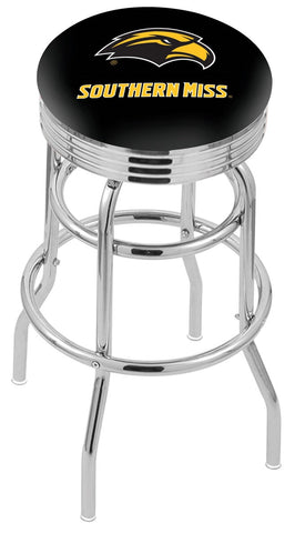 "Southern Miss Golden Eagles 30"" L7C3C - Chrome Double Ring Southern Miss Swivel Bar Stool with 2.5"" Ribbed Accent Ring by Holland Bar Stool Company"