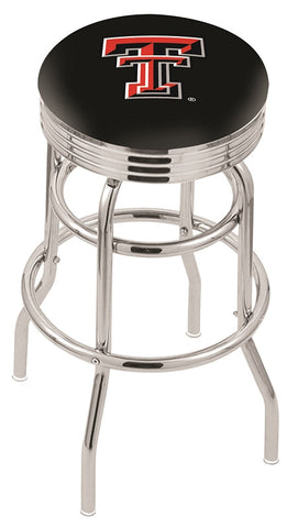 "TTU Red Raiders 30"" L7C3C - Chrome Double Ring Texas Tech Swivel Bar Stool with 2.5"" Ribbed Accent Ring by Holland Bar Stool Company"