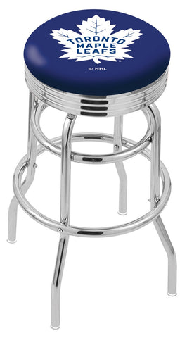 "30"" L7C3C - Chrome Double Ring Toronto Maple Leafs Swivel Bar Stool with 2.5"" Ribbed Accent Ring by Holland Bar Stool Company"
