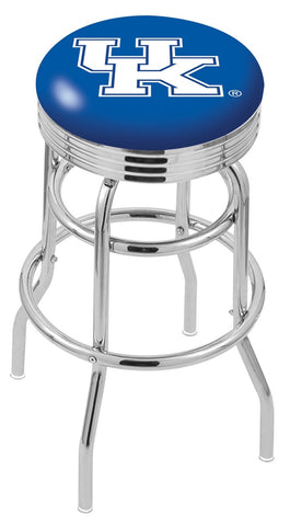 "UK Wildcats 30"" L7C3C - Chrome Double Ring Kentucky ""UK"" Swivel Bar Stool with 2.5"" Ribbed Accent Ring by Holland Bar Stool Company"