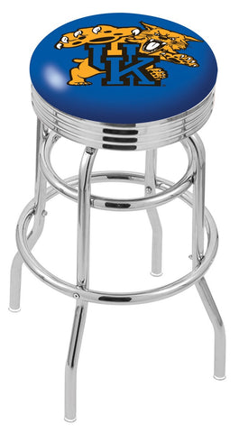 "UK Wildcats 30"" L7C3C - Chrome Double Ring Kentucky ""Wildcat"" Swivel Bar Stool with 2.5"" Ribbed Accent Ring by Holland Bar Stool Company"