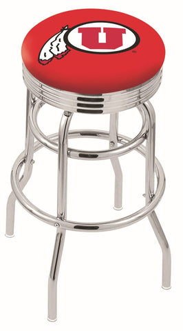 "Utah Utes 30"" L7C3C - Chrome Double Ring Utah Swivel Bar Stool with 2.5"" Ribbed Accent Ring by Holland Bar Stool Company"