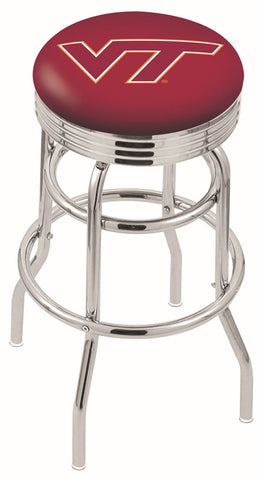 "VT Hokies 30"" L7C3C - Chrome Double Ring Virginia Tech Swivel Bar Stool with 2.5"" Ribbed Accent Ring by Holland Bar Stool Company"