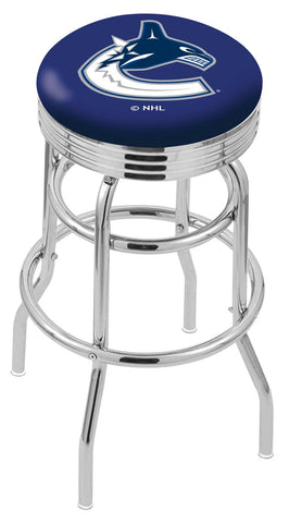 "30"" L7C3C - Chrome Double Ring Vancouver Canucks Swivel Bar Stool with 2.5"" Ribbed Accent Ring by Holland Bar Stool Company"