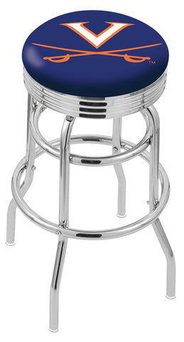 "UVA Cavaliers 30"" L7C3C - Chrome Double Ring Virginia Swivel Bar Stool with 2.5"" Ribbed Accent Ring by Holland Bar Stool Company"