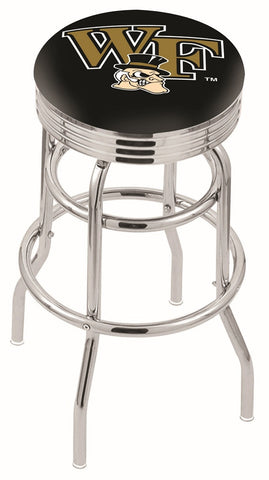 "Wake Forest Demon Deacons 30"" L7C3C - Chrome Double Ring Wake Forest Swivel Bar Stool with 2.5"" Ribbed Accent Ring by Holland Bar Stool Company"