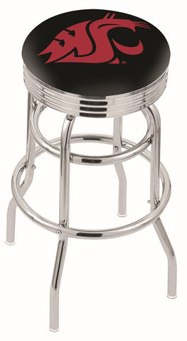 "WSU Cougars 30"" L7C3C - Chrome Double Ring Washington State Swivel Bar Stool with 2.5"" Ribbed Accent Ring by Holland Bar Stool Company"