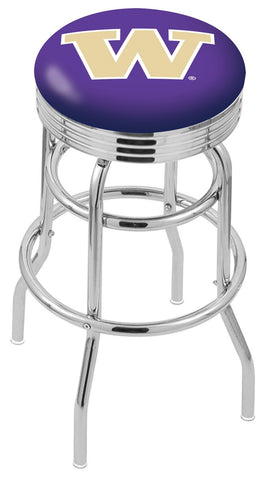 "UW Huskies 30"" L7C3C - Chrome Double Ring Washington Swivel Bar Stool with 2.5"" Ribbed Accent Ring by Holland Bar Stool Company"