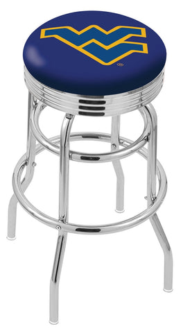 "WVU Mountaineers 30"" L7C3C - Chrome Double Ring West Virginia Swivel Bar Stool with 2.5"" Ribbed Accent Ring by Holland Bar Stool Company"