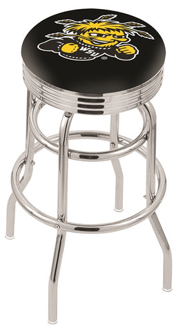 "Wichita State  Shockers 30"" L7C3C - Chrome Double Ring Wichita State Swivel Bar Stool with 2.5"" Ribbed Accent Ring by Holland Bar Stool Company"