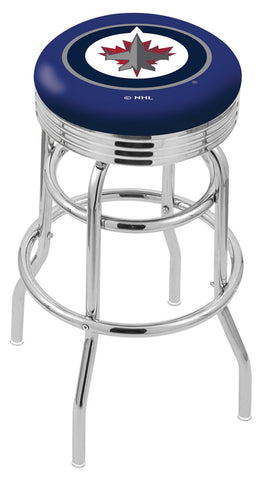 "30"" L7C3C - Chrome Double Ring Winnipeg Jets Swivel Bar Stool with 2.5"" Ribbed Accent Ring by Holland Bar Stool Company"