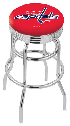 "30"" L7C3C - Chrome Double Ring Washington Capitals Swivel Bar Stool with 2.5"" Ribbed Accent Ring by Holland Bar Stool Company"