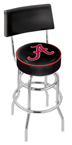 "Bama Crimson Tide 30"" L7C4 - Chrome Double Ring Alabama Swivel Bar Stool with a Back by Holland Bar Stool Company"