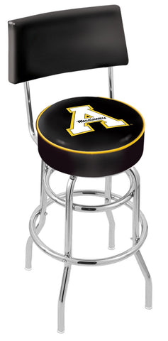 "ASU Mountaineers 30"" L7C4 - Chrome Double Ring Appalachian State Swivel Bar Stool with a Back by Holland Bar Stool Company"