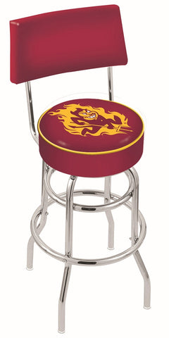 "ASU Sun Devils 30"" L7C4 - Chrome Double Ring Arizona State Swivel Bar Stool with a Back by Holland Bar Stool Company"