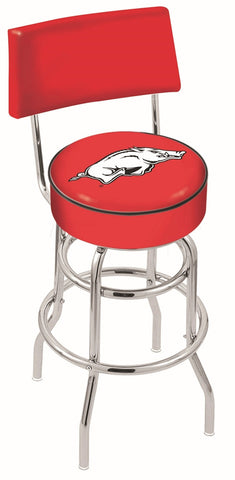 "Arkansas Razorbacks 30"" L7C4 - Chrome Double Ring Arkansas Swivel Bar Stool with a Back by Holland Bar Stool Company"