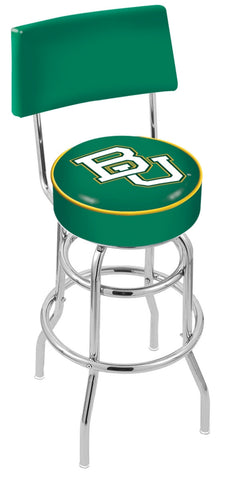 "Baylor  Bears 30"" L7C4 - Chrome Double Ring Baylor Swivel Bar Stool with a Back by Holland Bar Stool Company"