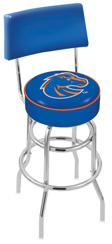 "BSU Broncos 30"" L7C4 - Chrome Double Ring Boise State Swivel Bar Stool with a Back by Holland Bar Stool Company"