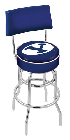"BYU Cougars 30"" L7C4 - Chrome Double Ring Brigham Young Swivel Bar Stool with a Back by Holland Bar Stool Company"