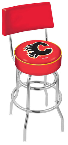 "30"" L7C4 - Chrome Double Ring Calgary Flames Swivel Bar Stool with a Back by Holland Bar Stool Company"