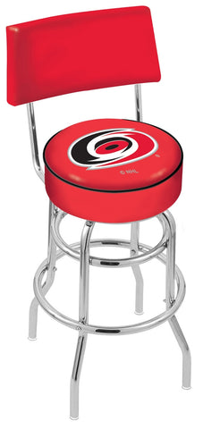"30"" L7C4 - Chrome Double Ring Carolina Hurricanes Swivel Bar Stool with a Back by Holland Bar Stool Company"
