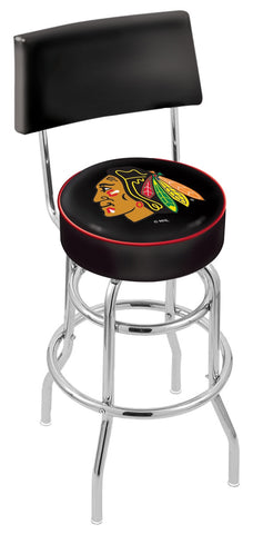 "30"" L7C4 - Chrome Double Ring Chicago Blackhawks Swivel Bar Stool with a Back by Holland Bar Stool Company"