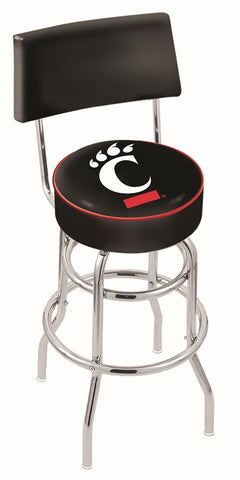 "UC Bearcats 30"" L7C4 - Chrome Double Ring Cincinnati Swivel Bar Stool with a Back by Holland Bar Stool Company"