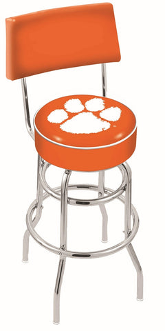 "Clemson  Tigers 30"" L7C4 - Chrome Double Ring Clemson Swivel Bar Stool with a Back by Holland Bar Stool Company"