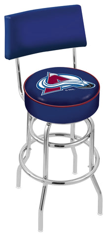 "30"" L7C4 - Chrome Double Ring Colorado Avalanche Swivel Bar Stool with a Back by Holland Bar Stool Company"