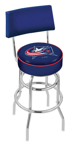 "30"" L7C4 - Chrome Double Ring Columbus Blue Jackets Swivel Bar Stool with a Back by Holland Bar Stool Company"