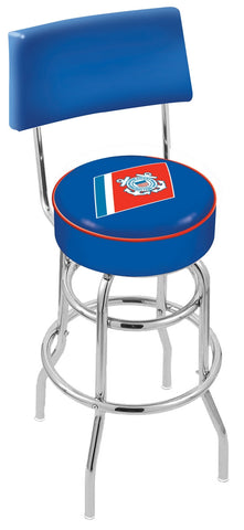 "30"" L7C4 - Chrome Double Ring U.S. Coast Guard Swivel Bar Stool with a Back by Holland Bar Stool Company"